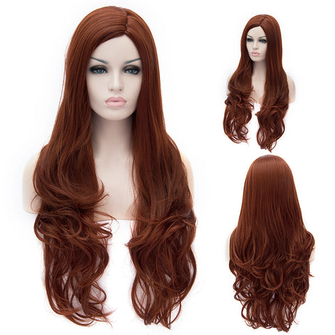 Dark red long curly wig without fringe