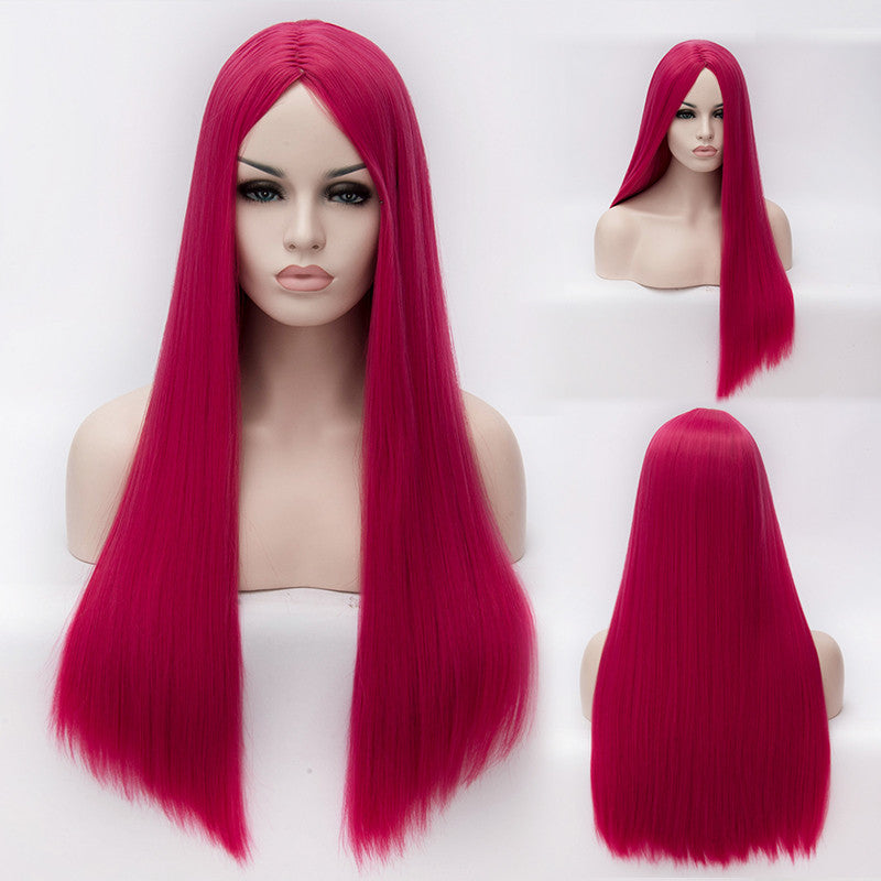 Pink long straight wig without fringe middle parting