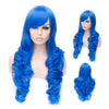 Dark blue long curly wig with side fringe-Smart Wigs