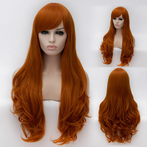 Orange long curly wig with beautiful side fringe