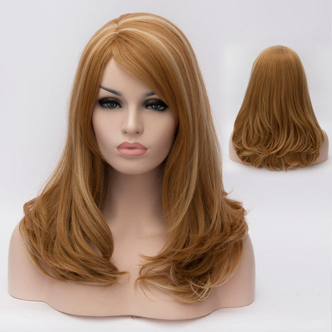 Medium blonde medium length wig with side fringe-Smart Wigs