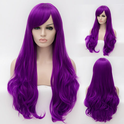 Purple long curly wig with beautiful side fringe