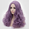Natural looking medium purple long curly wig without fringe at Smart Wigs Perth Australia