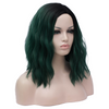 Natural green with dark roots medium wavy fashion wig