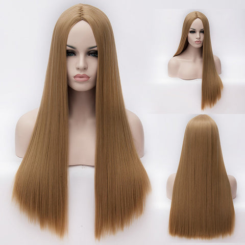 Honey blonde long straight wig without fringe middle parting