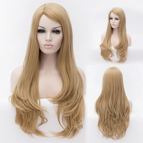 Natural blonde long wavy curly wig without fringe