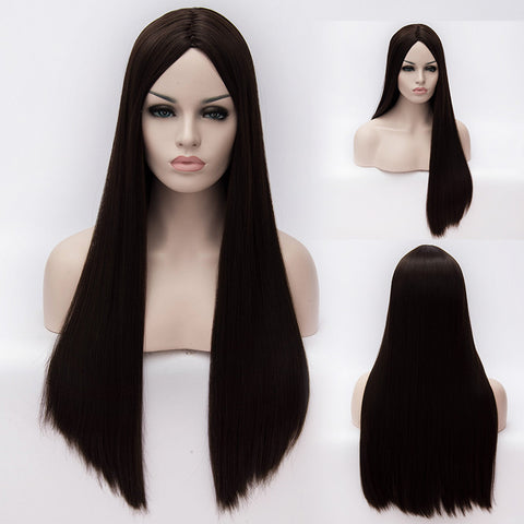 Brown long straight wig without fringe middle parting