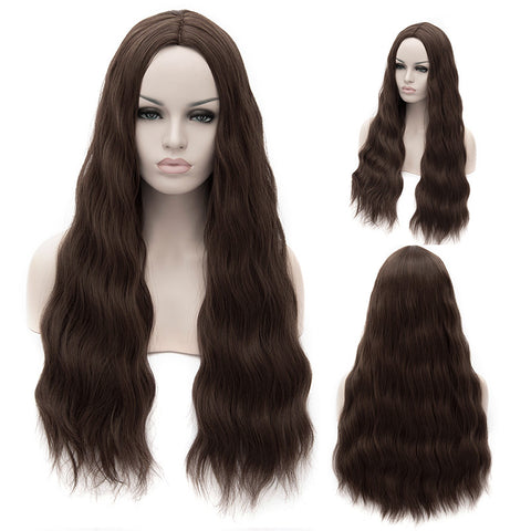 Long brown wigs without fringe