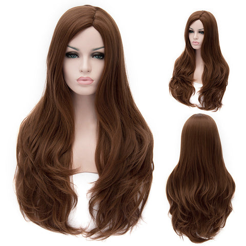 Brown long wavy wig without fringe