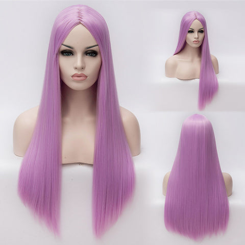 Light purple long straight wig without fringe middle parting
