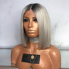 Dark Roots Silver Short Bob Lace Front Wig - Smart Wigs Sydney NSW