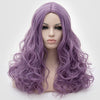 Natural looking medium purple long curly wig without fringe at Smart Wigs Perth WA