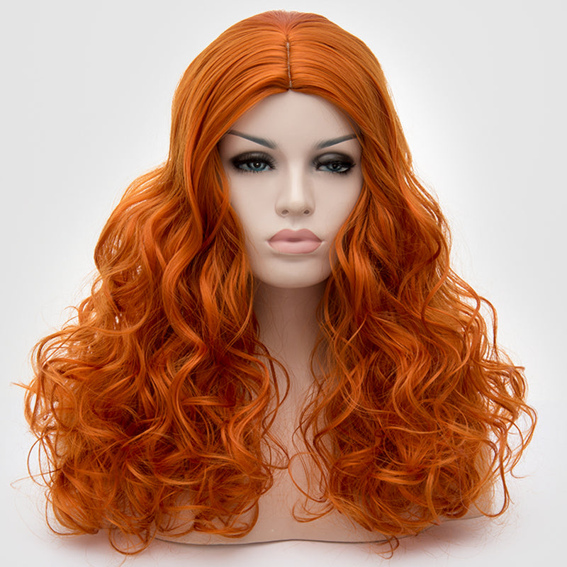 Natural red orange colour long curly wig without fringe Sydney NSW
