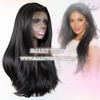2016 Long Straight Glueless Lace Front Wig Natural Black by Smart Wigs