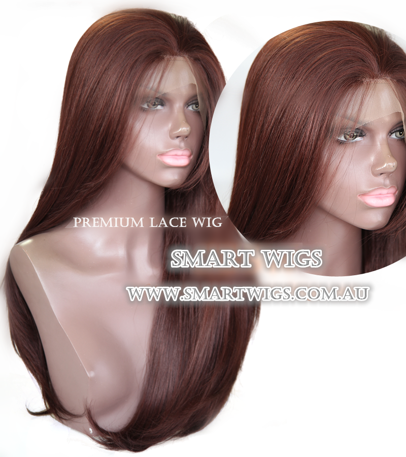 2016 Long Glueless Lace Front Wig-Reddish Brown by SMART WIGS AUSTRALIA