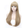 Wheat blonde long straight wig with short fringe