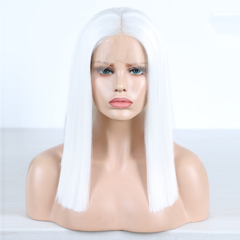 2020 New White Short Straight Bob Lace Front Wig Best Price at Smart Wigs Brisbane QLD AU