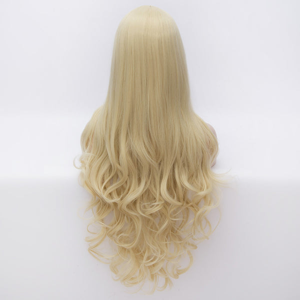 Long blonde curly wig middle parting