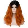 Red orange with dark roots long wavy wig - Smart Wigs Melbourne VIC