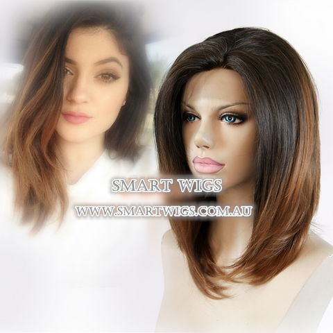 2016 Medium Glueless Lace Front Wig with 2 Tone Colour From Natural Black to Brown