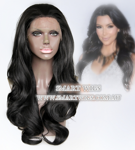 2016 Long Glueless Lace Front Natural Curly Wig Natural Black by Smart Wigs