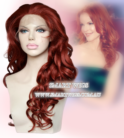 Long Curly Glueless Lace Front Wig-Dark Ginger / Orange Red