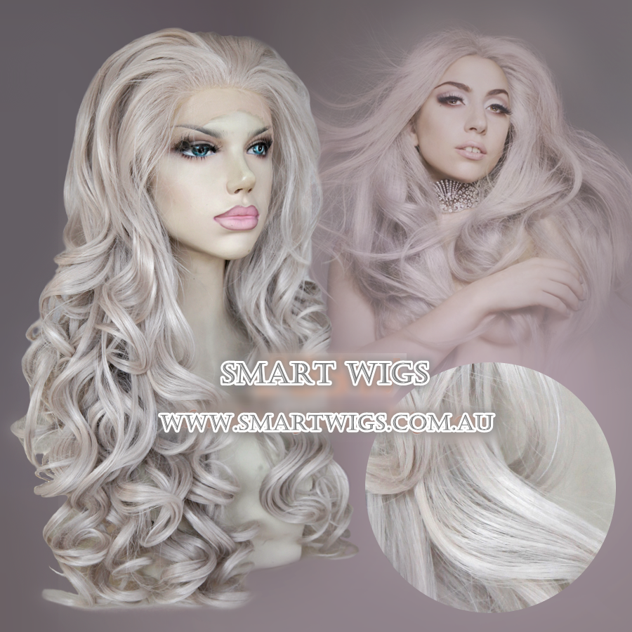 Long Curly Glueless Lace Front Wig Sliver Grey by Smart Wigs