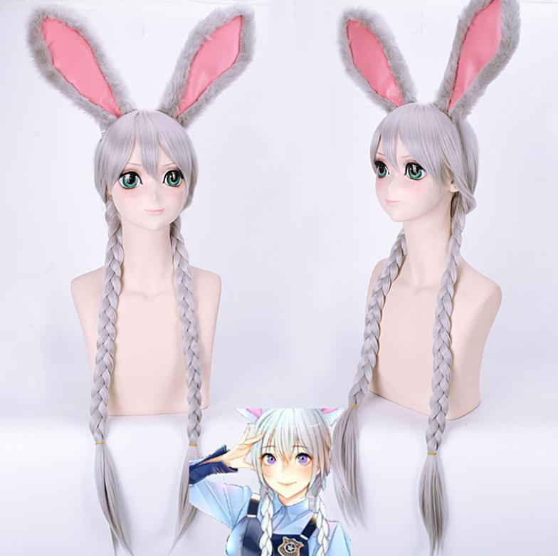 Silver plait cosplay wig with ears only at Smart Wigs Brisbane QLD
