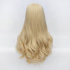 Golden blonde long wavy wig without fringe