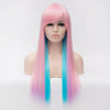 Pink & blue 2 tones long straight wig with side fringe