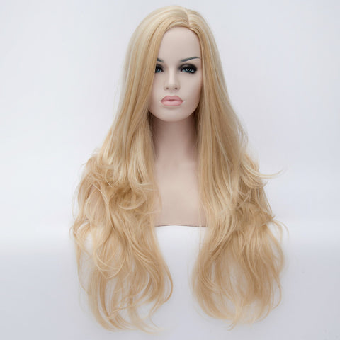 Natural blonde long wavy wig without fringe