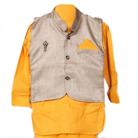 Full Sleeve Yellow Kurta Pyjama for Kids