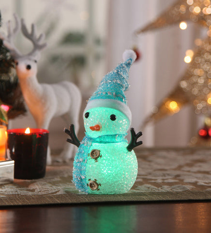Christmas LED Snowman Blue Acrylic Showpiece