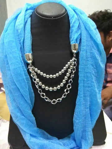 Blue Scarf Necklace