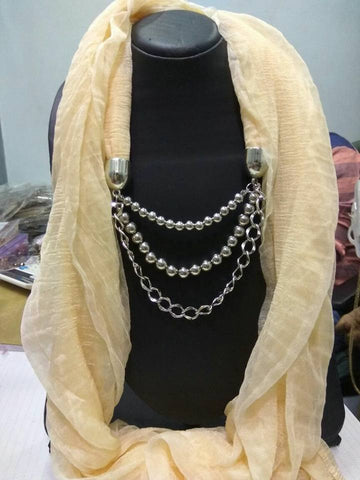 Cream Scarf Necklace
