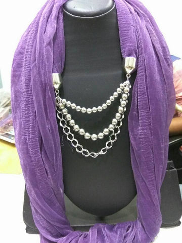 Purple Scarf Necklace