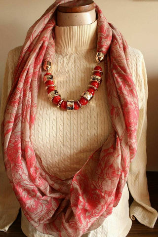 Carnation Red Scarf Necklace