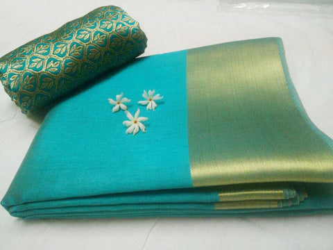 Plain border Silk Saree