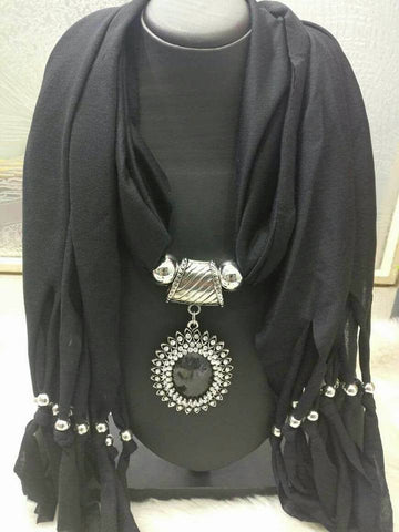 Black  Scarf Necklace