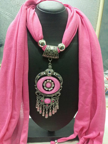 Pink Scarf Necklace