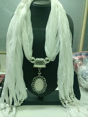 White Scarf Necklace