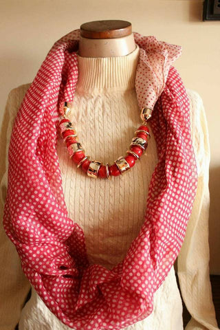 Light Red  Scarf Necklace