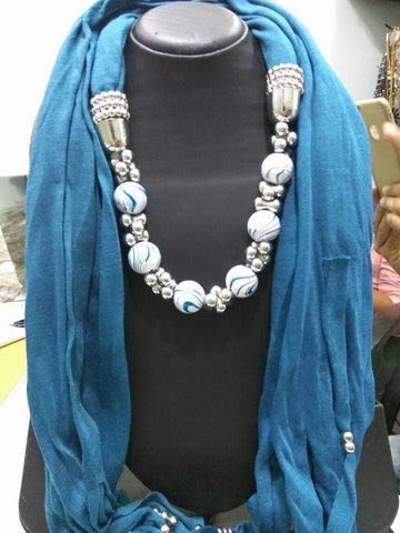 Dark Blue Scarf Necklace