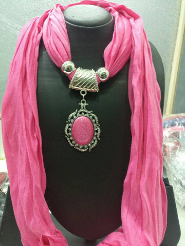 Cameo Pink Scarf Necklace