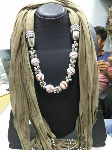 Beige  Scarf Necklace