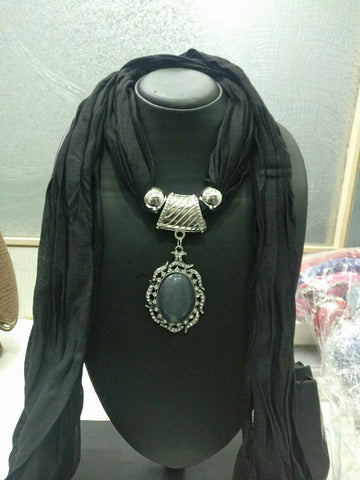 Light Black Scarf Necklace