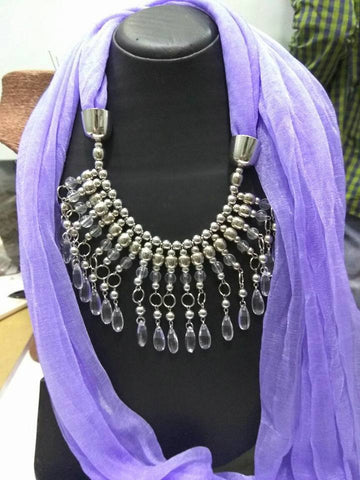 Violet Scarf Necklace