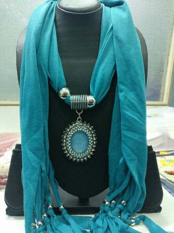 Greenish Blue Scarf Necklace