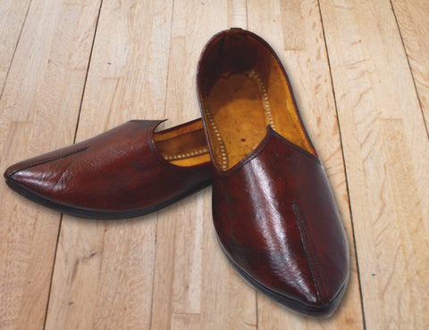 Brown Leather Shoe - Plain Tip