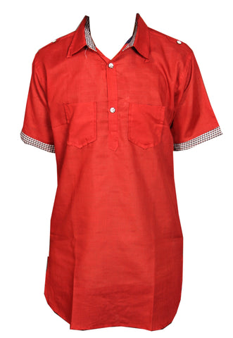 Red Punjabi Men's Kurta